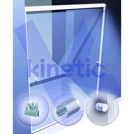 SLIDING SHOWER DOOR ROUND SLIDING DOOR TRACK DOUBLE ROLLER 2.03 X 1.875 M, WITH KNOB, ANODIZED G-2