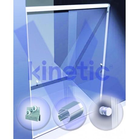 SLIDING SHOWER DOOR ROUND SLIDING DOOR TRACK DOUBLE ROLLER 2.03 X 1.875 M, WITH KNOB, WHITE PAINT FINISH