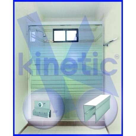 SLIDING SHOWER DOOR SINGLE ROLLER 2.03 X 1.875 M, WHITE PAINT FINISH