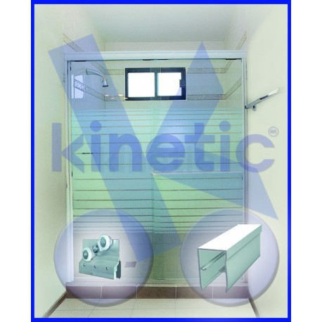 SLIDING SHOWER DOOR DOUBLE ROLLER 1.46 X 1.875 M, CHAMPAGNE PAINT FINISH