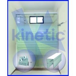 SLIDING SHOWER DOOR DOUBLE ROLLER 1.46 X 1.875 M, WHITE PAINT FINISH