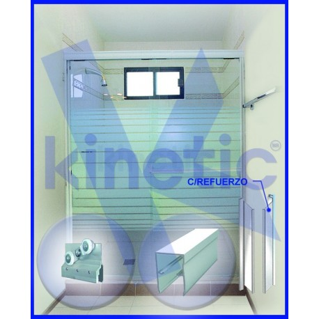 SLIDING SHOWER DOOR DOUBLE ROLLER 2,03 X 1.875 M, WHITE PAINT FINISH