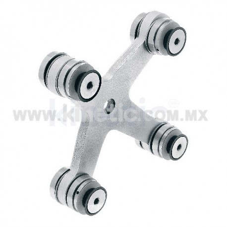 ALUMINUM SPIDER FITTING 128MM 4 WAY WITH CUSHION CONNECTOR