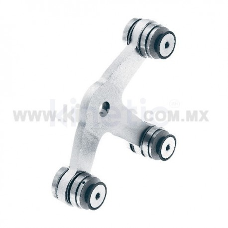ALUMINUM SPIDER FITTING 128MM 3 WAY WITH CUSHION CONNECTOR