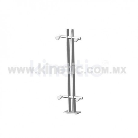 ALUMINUM HANDRAIL 750MM WITH STAINLESS STEEL ANGLE SUPPORT, DOUBLE