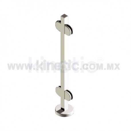 STAINLESS STEEL HANDRAIL 855MM SQUARE POST AND DOUBLE CLAMP