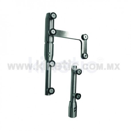 STAINLESS STEEL PIVOT POLE 2 PIECES TO LINTEL WITH SIDE PLATE (GERMAN DORMA)