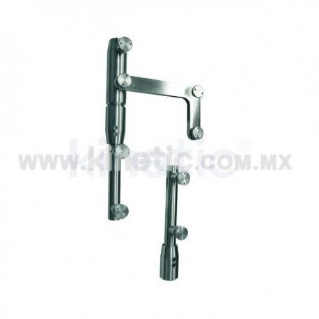 STAINLESS STEEL PIVOT POLE 2 PIECES TO LINTEL WITH BUTTON HEAD AND SIDE PLATE (GERMAN DORMA)