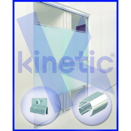 SHOWER DOOR WITH ROUND SLIDING DOOR TRACK AND SINGLE ROLLER 2.03 X 1.875 M, CHAMPAGNE PAINT FINISH