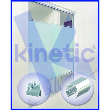 SLIDING SHOWER DOOR ROUND SLIDING DOOR TRACK DOUBLE ROLLER 2.03 X 1.875 M, WHITE PAINT FINISH